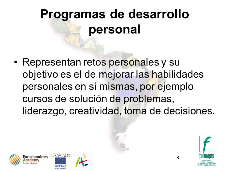 8 Programas de desarrollo personal Representan retos personales y su objetivo es el de mejorar las habilidades personales en si mismas, por ejemplo cu