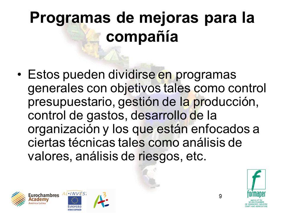 9 Programas de mejoras para la compañía Estos pueden dividirse en programas generales con objetivos tales como control presupuestario, gestión de la p