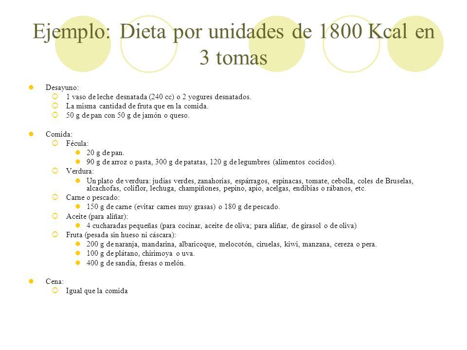 Ejemplo: Dieta por unidades de 1800 Kcal en 3 tomas Desayuno: 1 vaso de leche desnatada (240 cc) o 2 yogures desnatados. La misma cantidad de fruta qu