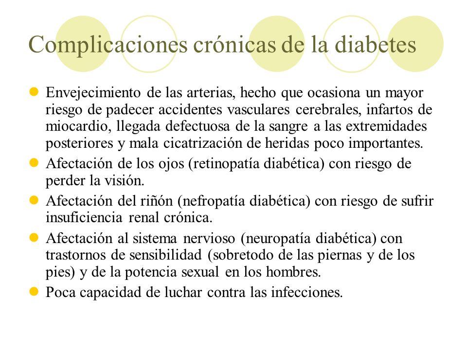 Complicaciones crónicas de la diabetes Envejecimiento de las arterias, hecho que ocasiona un mayor riesgo de padecer accidentes vasculares cerebrales,