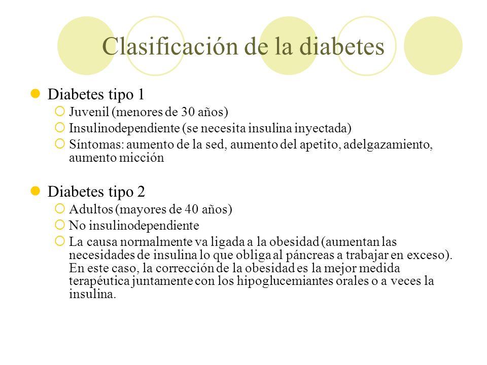 Clasificación de la diabetes Diabetes tipo 1 Juvenil (menores de 30 años) Insulinodependiente (se necesita insulina inyectada) Síntomas: aumento de la
