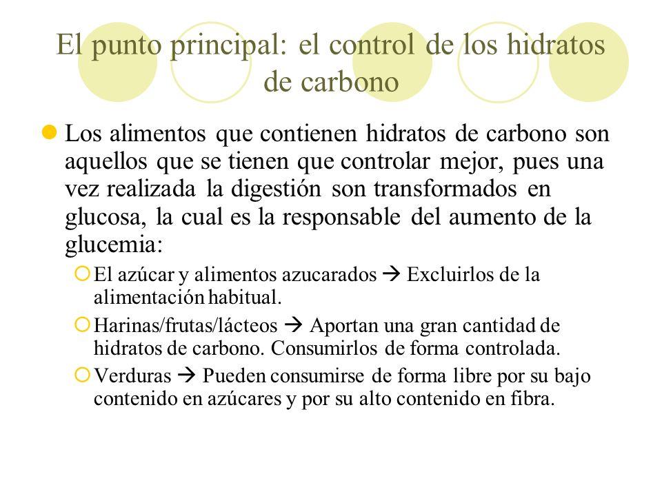 El punto principal: el control de los hidratos de carbono Los alimentos que contienen hidratos de carbono son aquellos que se tienen que controlar mej