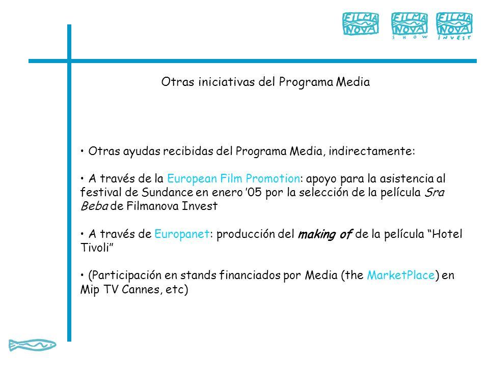 Otras iniciativas del Programa Media Otras ayudas recibidas del Programa Media, indirectamente: A través de la European Film Promotion: apoyo para la