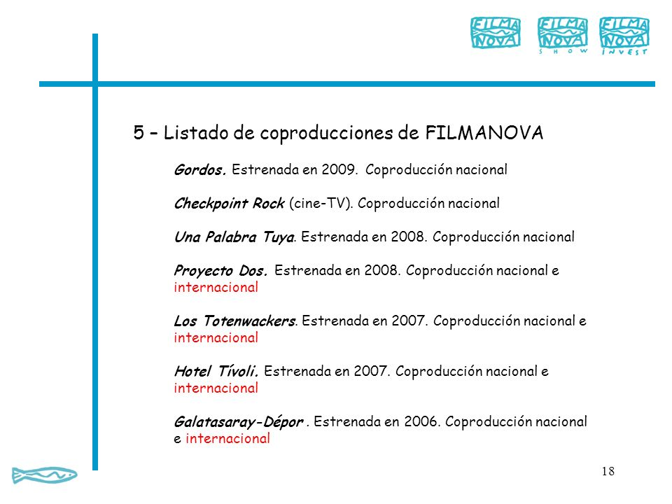 5 – Listado de coproducciones de FILMANOVA 18 Gordos. Estrenada en 2009. Coproducción nacional Checkpoint Rock (cine-TV). Coproducción nacional Una Pa