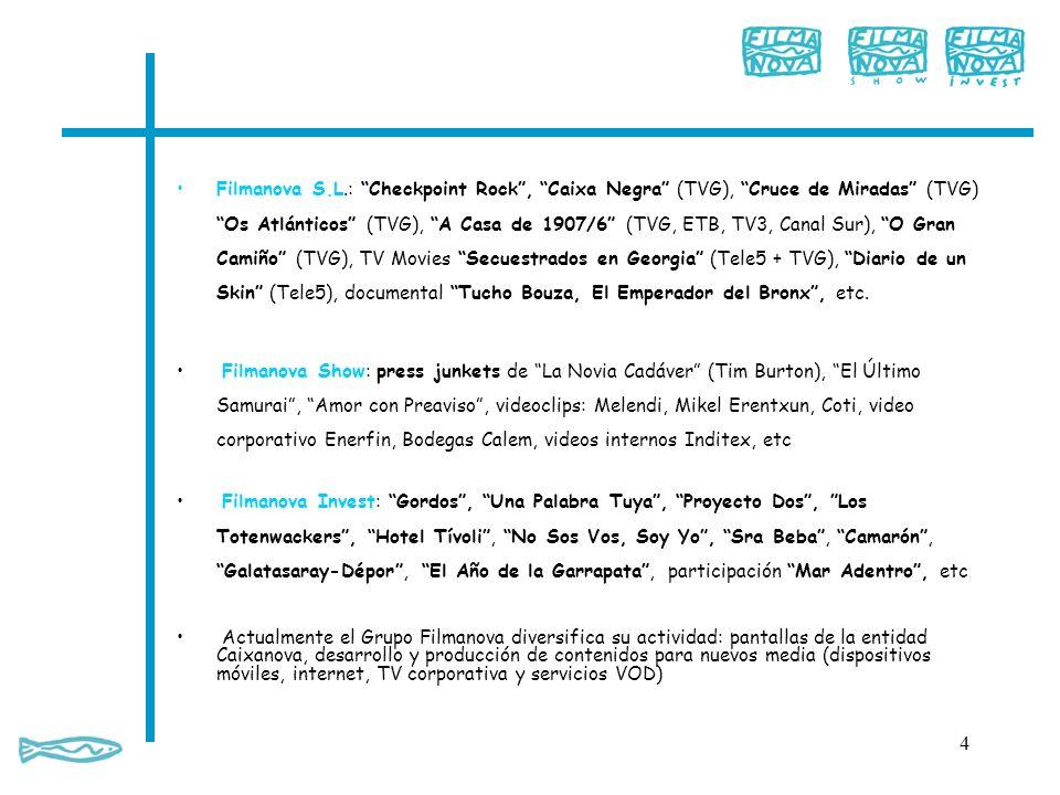 Filmanova S.L.: Checkpoint Rock, Caixa Negra (TVG), Cruce de Miradas (TVG) Os Atlánticos (TVG), A Casa de 1907/6 (TVG, ETB, TV3, Canal Sur), O Gran Ca