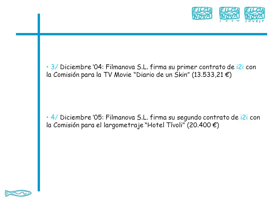 3/ Diciembre 04: Filmanova S.L. firma su primer contrato de i2i con la Comisión para la TV Movie Diario de un Skin (13.533,21 ) 4/ Diciembre 05: Filma