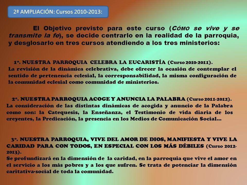 3º. NUESTRA PARROQUIA, VIVE DEL AMOR DE DIOS, MANIFIESTA Y VIVE LA CARIDAD PARA CON TODOS, EN ESPECIAL CON LOS MÁS DÉBILES (Curso 2012- 2013). Se prof