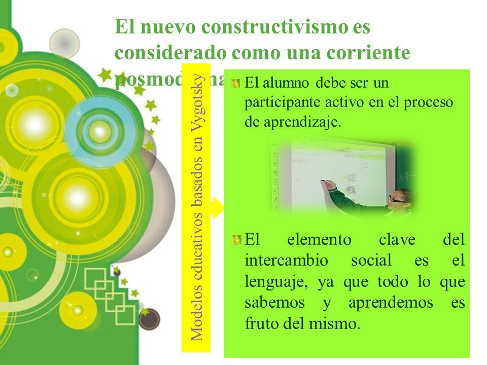 Powerpoint Templates Page 5 El nuevo constructivismo es considerado como una corriente posmoderna. Modelos educativos basados en Vygotsky El alumno de
