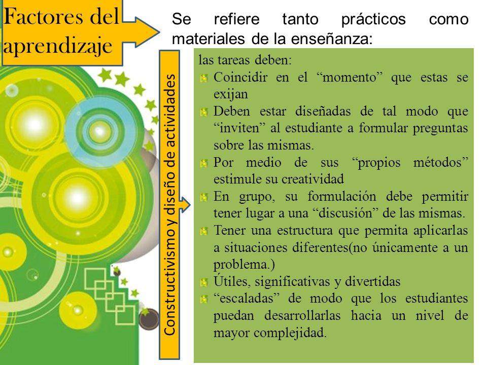 Powerpoint Templates Page 9 Factores del aprendizaje Se refiere tanto prácticos como materiales de la enseñanza: Constructivismo y diseño de actividad