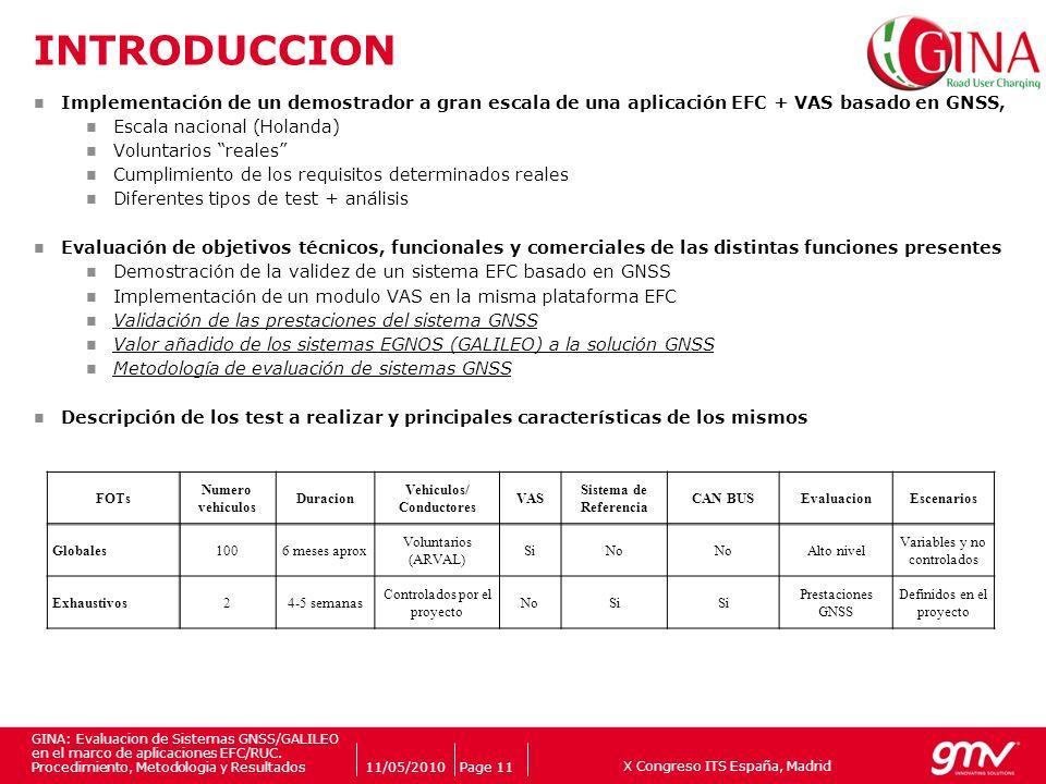X Congreso ITS España, Madrid Companys logo 11/05/2010Page 11 GINA: Evaluacion de Sistemas GNSS/GALILEO en el marco de aplicaciones EFC/RUC. Procedimi