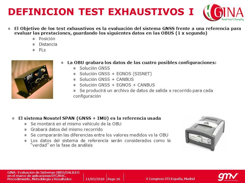 X Congreso ITS España, Madrid Companys logo 11/05/2010Page 16 GINA: Evaluacion de Sistemas GNSS/GALILEO en el marco de aplicaciones EFC/RUC. Procedimi