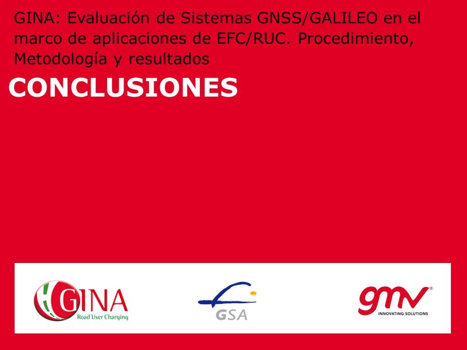 CONCLUSIONES GINA: Evaluación de Sistemas GNSS/GALILEO en el marco de aplicaciones de EFC/RUC. Procedimiento, Metodología y resultados