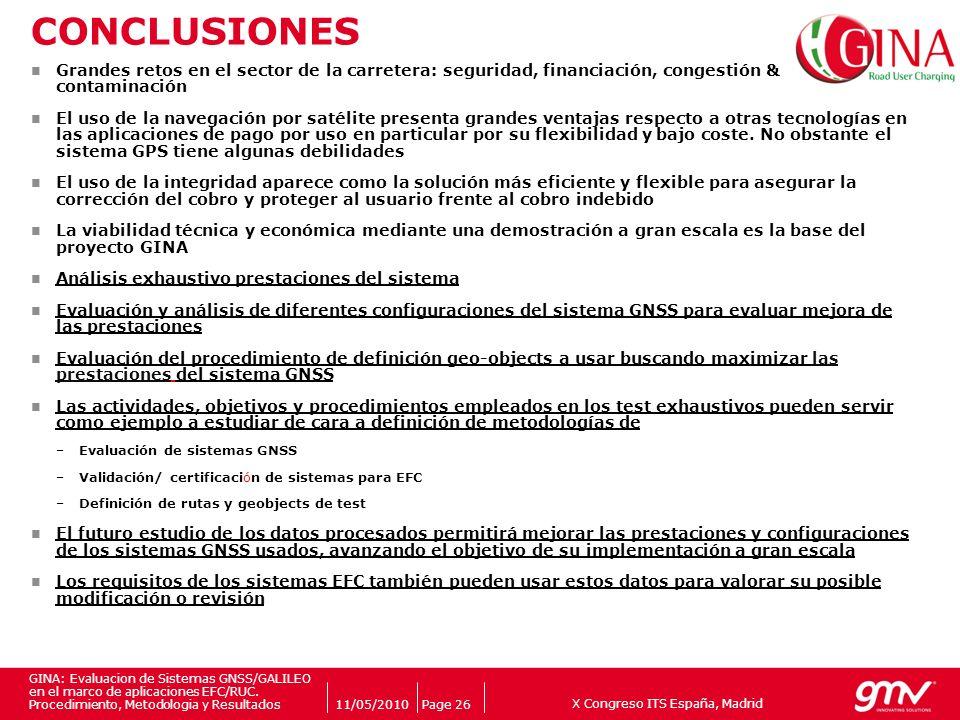 X Congreso ITS España, Madrid Companys logo 11/05/2010Page 26 GINA: Evaluacion de Sistemas GNSS/GALILEO en el marco de aplicaciones EFC/RUC. Procedimi