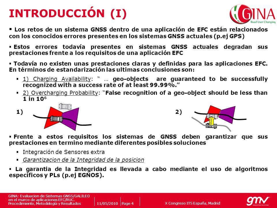 X Congreso ITS España, Madrid Companys logo 11/05/2010Page 4 GINA: Evaluacion de Sistemas GNSS/GALILEO en el marco de aplicaciones EFC/RUC. Procedimie
