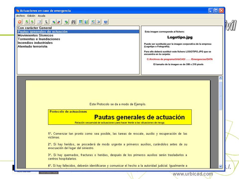 Y por último: Gestión y acceso inmediato a la Gestión de Emergencias, y a los Protocolos de Actuación en caso de emergencia. www.urbicad.com