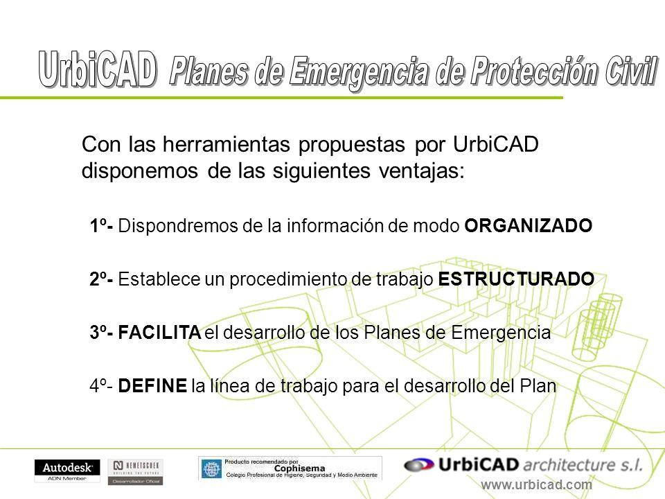 www.urbicad.com Con las herramientas propuestas por UrbiCAD disponemos de las siguientes ventajas: 1º- Dispondremos de la información de modo ORGANIZA