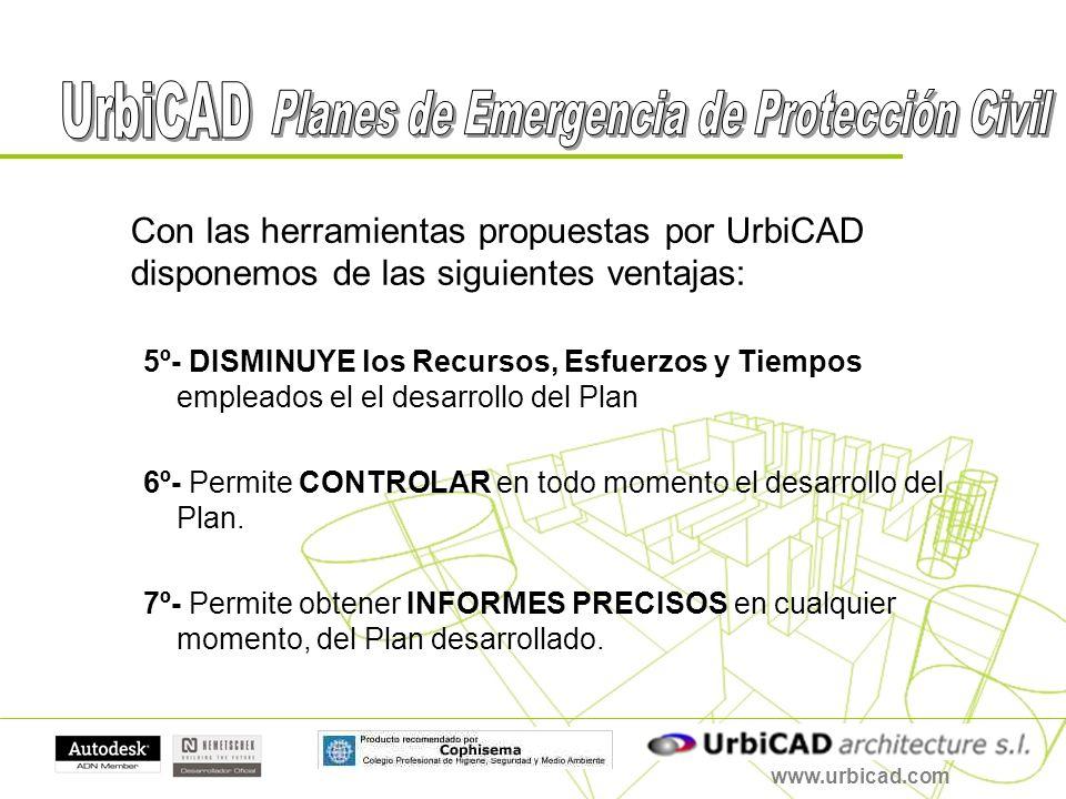www.urbicad.com Con las herramientas propuestas por UrbiCAD disponemos de las siguientes ventajas: 5º- DISMINUYE los Recursos, Esfuerzos y Tiempos emp