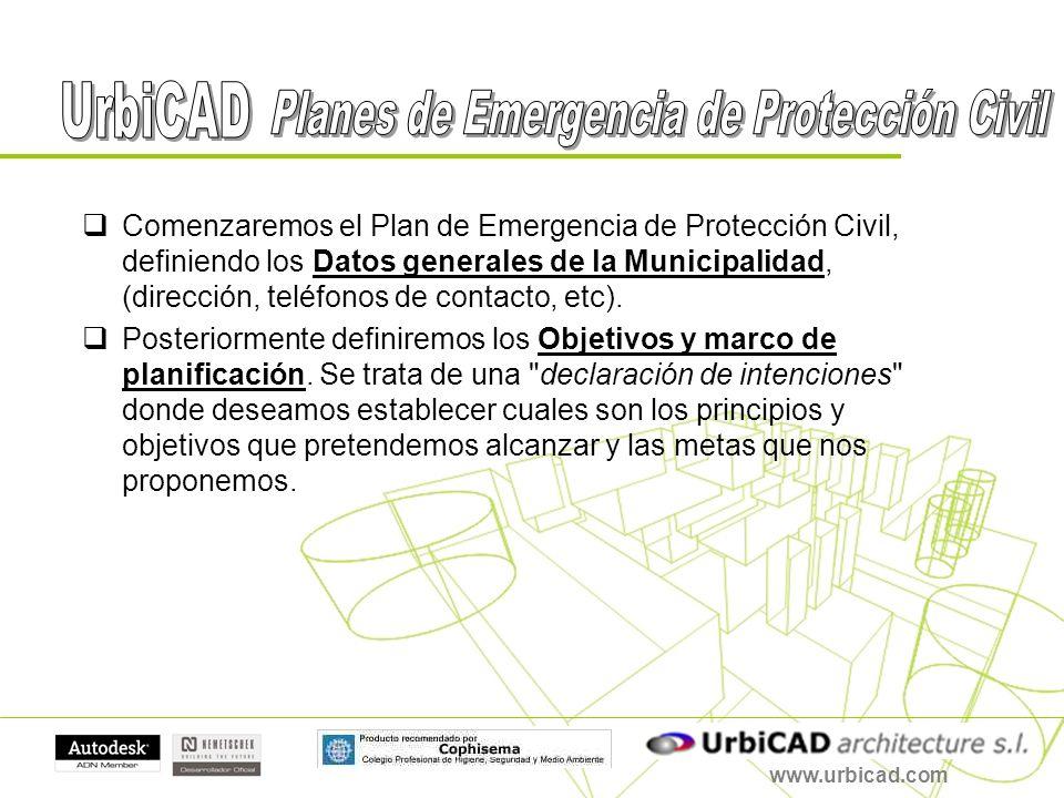 www.urbicad.com Con las herramientas propuestas por UrbiCAD disponemos de las siguientes ventajas: 8º- INFORMATIZA LOS PROCESOS, mejorando el intercambio de información entre diferentes instancias de Protección Civil 9º- OPTIMIZA los resultados.