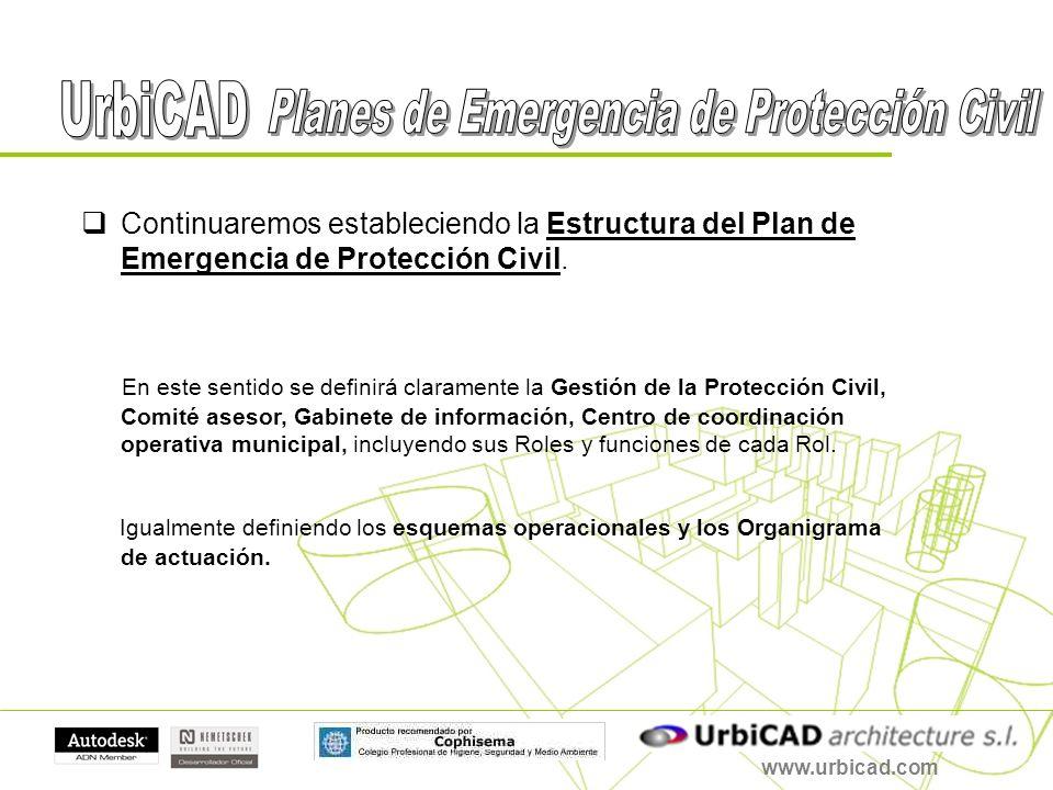 www.urbicad.com Continuaremos estableciendo la Estructura del Plan de Emergencia de Protección Civil. En este sentido se definirá claramente la Gestió