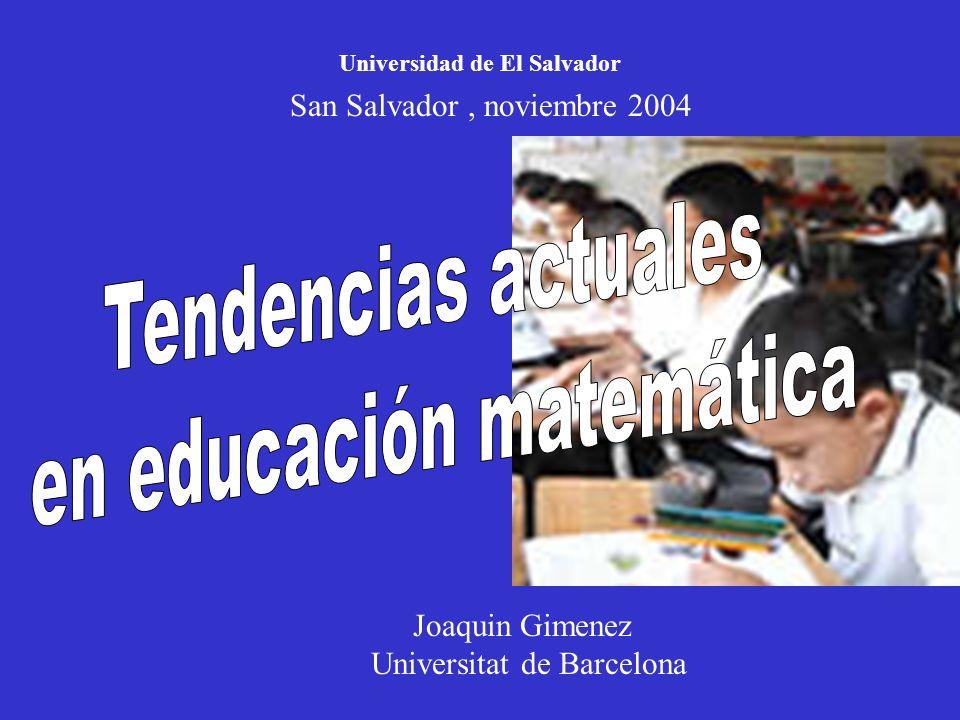 Joaquin Gimenez Universitat de Barcelona Universidad de El Salvador San Salvador, noviembre 2004