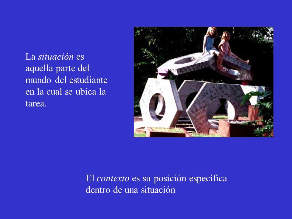 La situación es aquella parte del mundo del estudiante en la cual se ubica la tarea. El contexto es su posición específica dentro de una situación