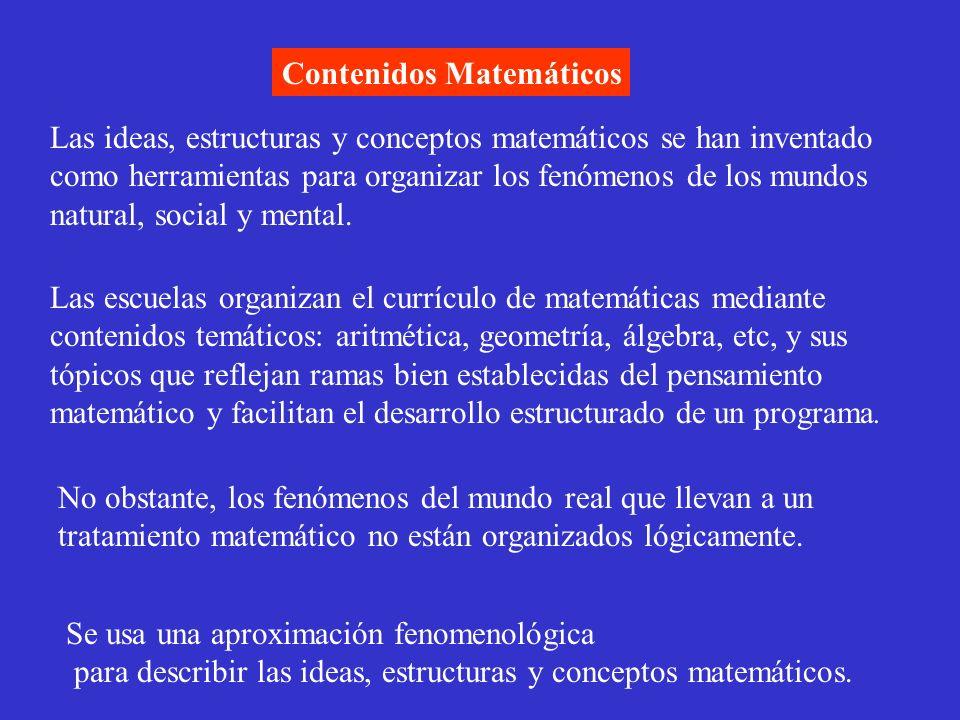 Contenidos Matemáticos Las ideas, estructuras y conceptos matemáticos se han inventado como herramientas para organizar los fenómenos de los mundos na