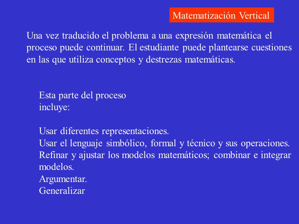 Una vez traducido el problema a una expresión matemática el proceso puede continuar. El estudiante puede plantearse cuestiones en las que utiliza conc