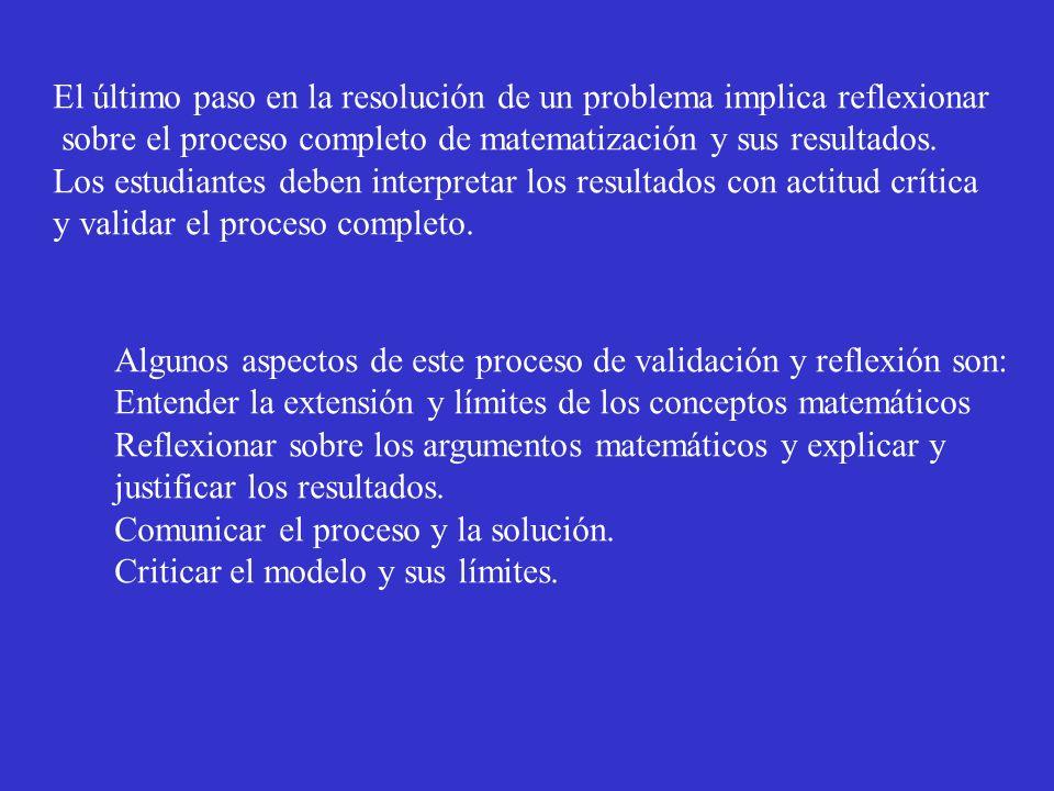 El último paso en la resolución de un problema implica reflexionar sobre el proceso completo de matematización y sus resultados. Los estudiantes deben