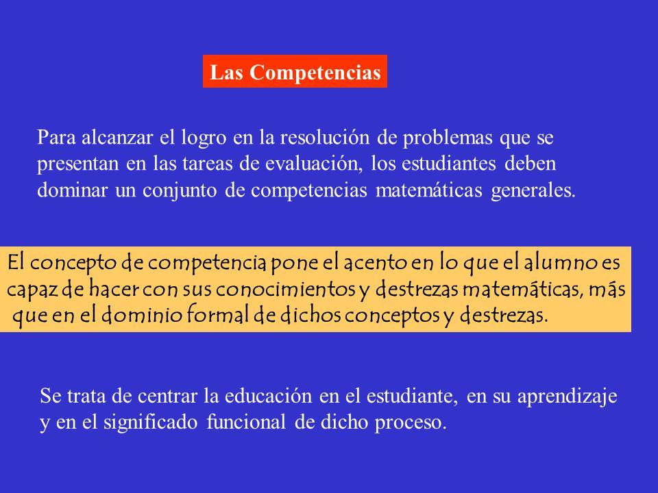 Las Competencias Para alcanzar el logro en la resolución de problemas que se presentan en las tareas de evaluación, los estudiantes deben dominar un c