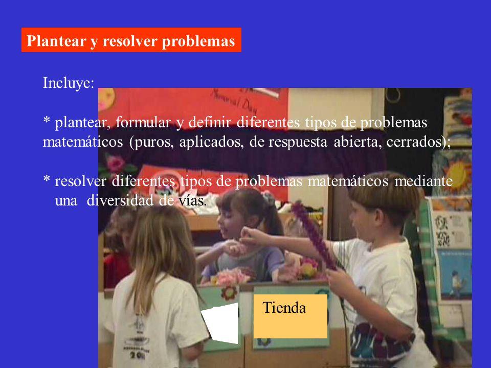 Plantear y resolver problemas Incluye: * plantear, formular y definir diferentes tipos de problemas matemáticos (puros, aplicados, de respuesta abiert