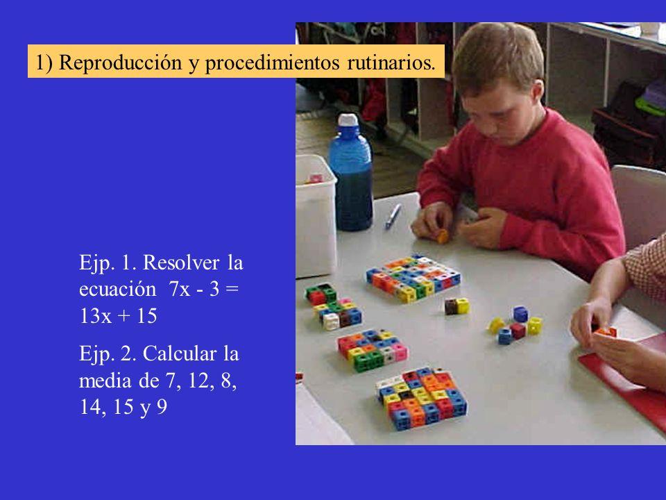 Ejp. 1. Resolver la ecuación 7x - 3 = 13x + 15 Ejp. 2. Calcular la media de 7, 12, 8, 14, 15 y 9 1) Reproducción y procedimientos rutinarios.
