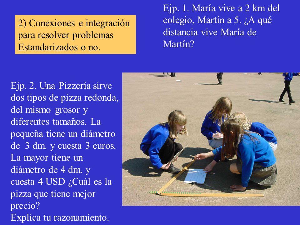 Ejp. 1. María vive a 2 km del colegio, Martín a 5. ¿A qué distancia vive María de Martín? Ejp. 2. Una Pizzería sirve dos tipos de pizza redonda, del m