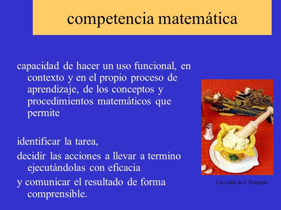 competencia matemática capacidad de hacer un uso funcional, en contexto y en el propio proceso de aprendizaje, de los conceptos y procedimientos matem