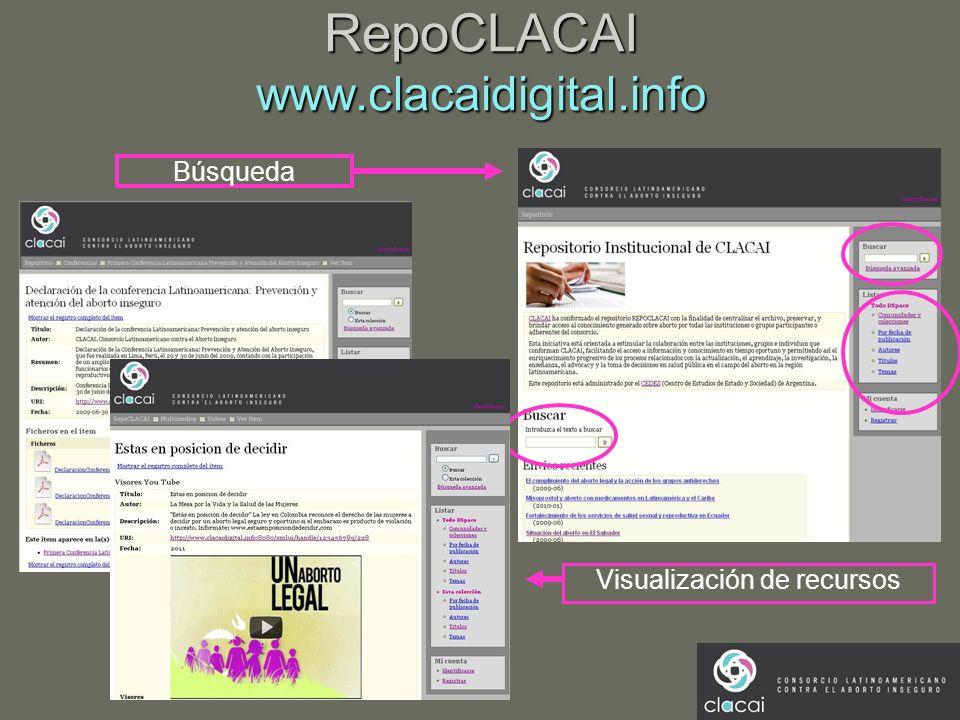RepoCLACAI www.clacaidigital.info Búsqueda Visualización de recursos