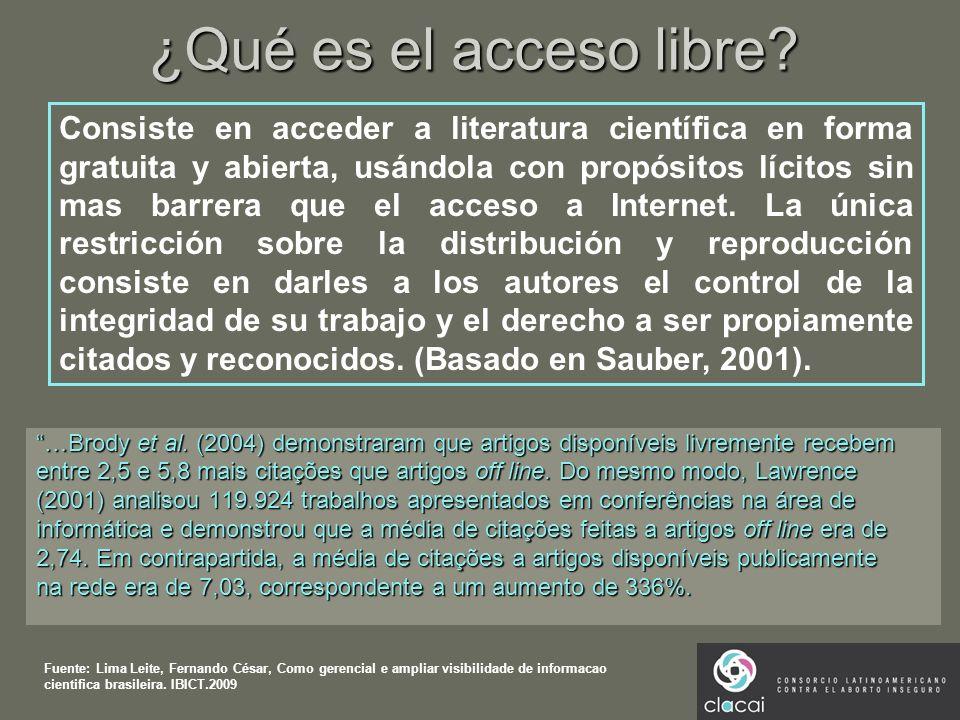 ¿Qué es el acceso libre? …Brody et al. (2004) demonstraram que artigos disponíveis livremente recebem entre 2,5 e 5,8 mais citações que artigos off li