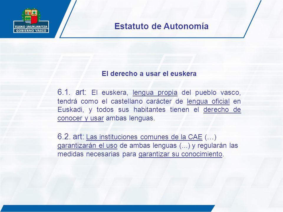 El derecho a usar el euskera 6.1. art: El euskera, lengua propia del pueblo vasco, tendrá como el castellano carácter de lengua oficial en Euskadi, y