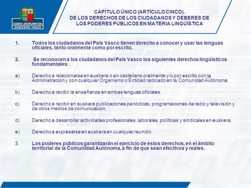 CAPÍTULO ÚNICO (ARTÍCULO CINCO). DE LOS DERECHOS DE LOS CIUDADANOS Y DEBERES DE LOS PODERES PÚBLICOS EN MATERIA LINGÜÍSTICA 1.Todos los ciudadanos del
