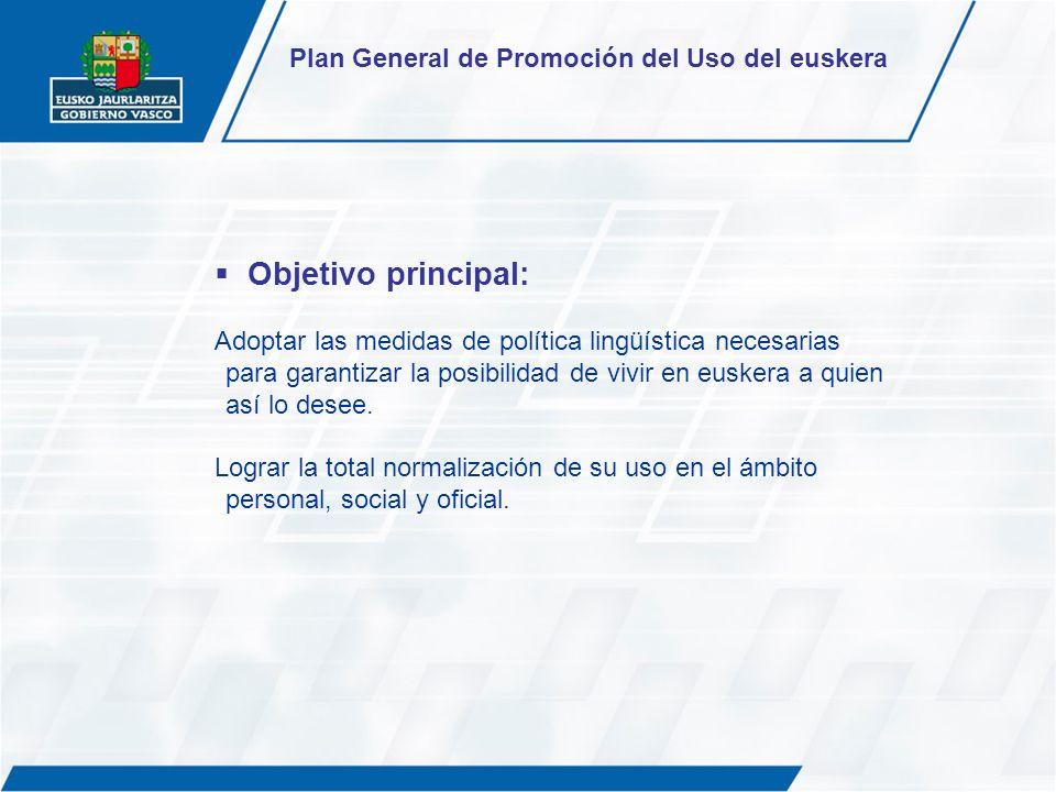 Objetivo principal: Adoptar las medidas de política lingüística necesarias para garantizar la posibilidad de vivir en euskera a quien así lo desee. Lo