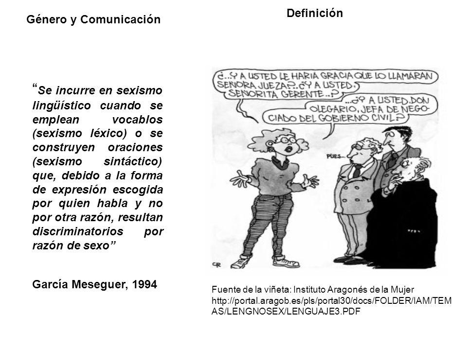 Género y Comunicación Afirmaciones sobre lenguaje sexista Para el caso del español, no hay sexismo en la lengua sino en el habla, pudiendo tratarse de sexismo de quien habla o de sexismo de quien oye.