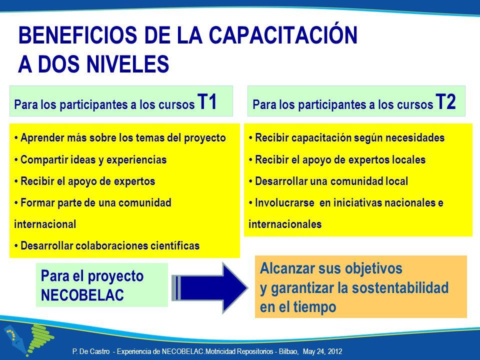 P. De Castro - Experiencia de NECOBELAC.Motricidad Repositorios - Bilbao, May 24, 2012 BENEFICIOS DE LA CAPACITACIÓN A DOS NIVELES Alcanzar sus objeti