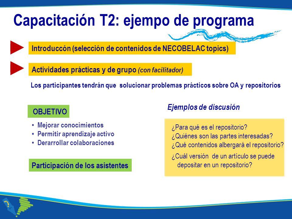 Corso NECOBELAC T1. - Roma 18-20 ottobre 2010 Capacitación T2: ejempo de programa Actividades prácticas y de grupo (con facilitador) ¿Para qué es el r