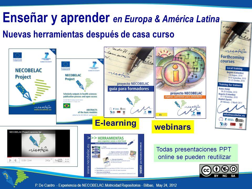 Nuevas herramientas después de casa curso Enseñar y aprender en Europa & América Latina P. De Castro - Experiencia de NECOBELAC.Motricidad Repositorio
