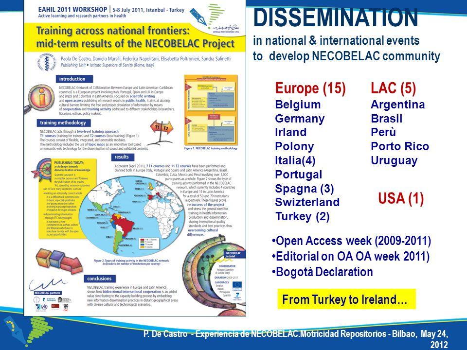 P. De Castro - Experiencia de NECOBELAC.Motricidad Repositorios - Bilbao, May 24, 2012 DISSEMINATION in national & international events to develop NEC