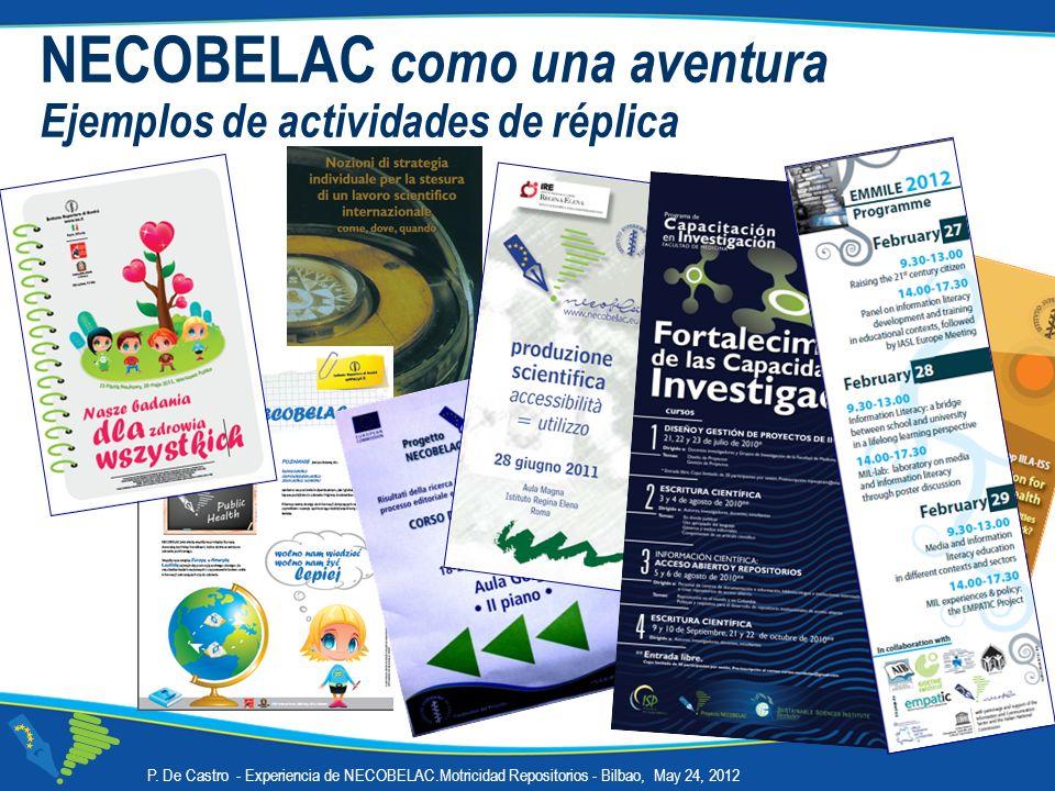NECOBELAC como una aventura Ejemplos de actividades de réplica P. De Castro - Experiencia de NECOBELAC.Motricidad Repositorios - Bilbao, May 24, 2012
