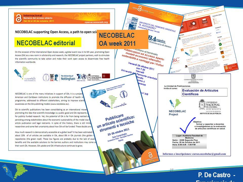 27 NECOBELAC OA week 2011 NECOBELAC editorial