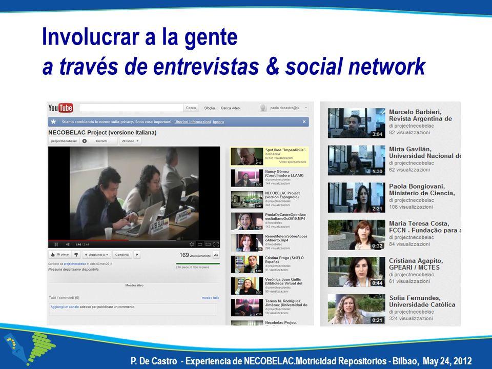 P. De Castro - Experiencia de NECOBELAC.Motricidad Repositorios - Bilbao, May 24, 2012 Involucrar a la gente a través de entrevistas & social network