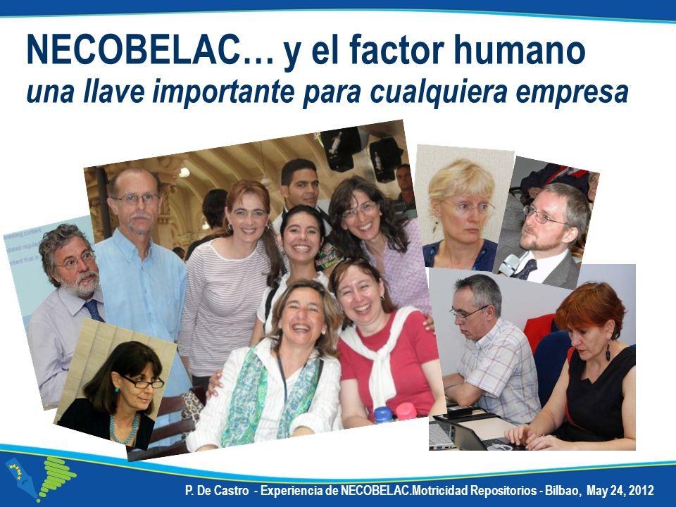 P. De Castro - Experiencia de NECOBELAC.Motricidad Repositorios - Bilbao, May 24, 2012 NECOBELAC… y el factor humano una llave importante para cualqui