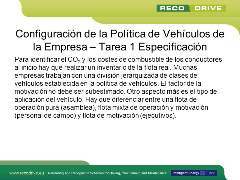 Rewarding and Recognition Schemes for Driving, Procurement and Maintenance Configuración de la Política de Vehículos de la Empresa – Tarea 1 Especific