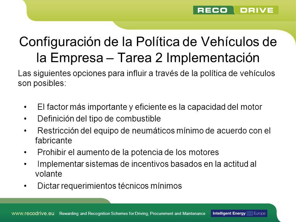 Rewarding and Recognition Schemes for Driving, Procurement and Maintenance Configuración de la Política de Vehículos de la Empresa – Tarea 2 Implement