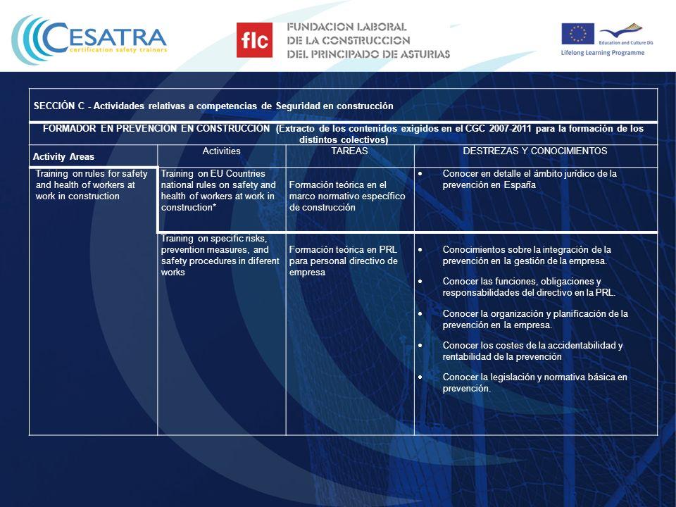 SECCIÓN C - Actividades relativas a competencias de Seguridad en construcción FORMADOR EN PREVENCIÓN EN CONSTRUCCIÓN (Extracto de los contenidos exigi